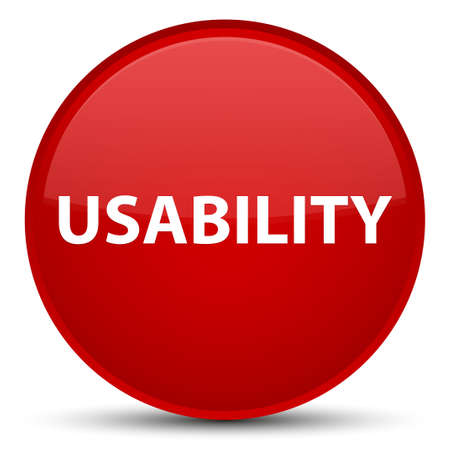 Usability isolated on special red round button abstract illustration
