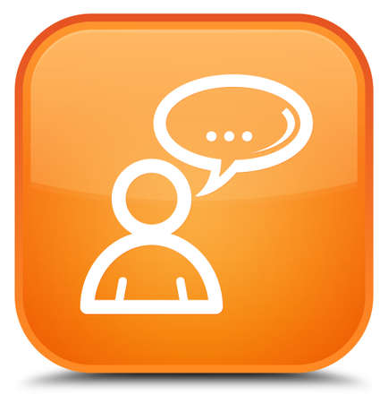 Social network icon isolated on special orange square button abstract illustration