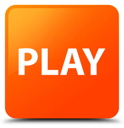 Play isolated on orange square button abstract illustration