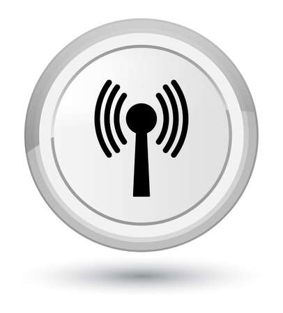 Wlan network icon isolated on prime white round button abstract illustration Stock Photo
