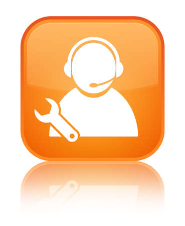 Tech support icon isolated on special orange square button reflected abstract illustration