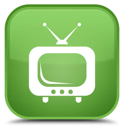 TV icon isolated on special soft green square button abstract illustration