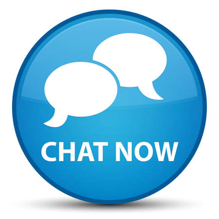 Chat now isolated on special cyan blue round button abstract illustration