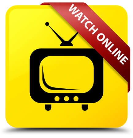 antennas: Watch online isolated on yellow square button with red ribbon in corner abstract illustration
