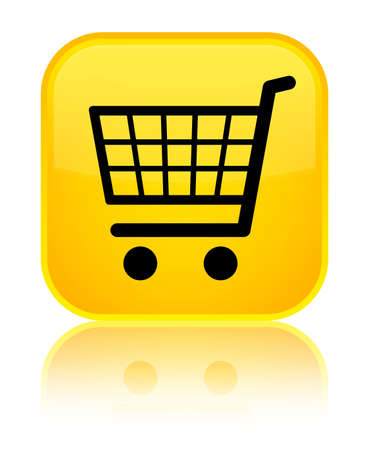 Ecommerce icon isolated on special yellow square button reflected abstract illustration Stock Photo