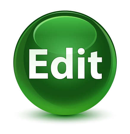 Edit isolated on glassy soft green round button abstract illustration
