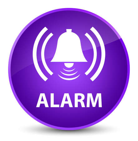 Alarm (bell icon) isolated on elegant purple round button abstract illustration
