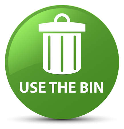 trash container: Use the bin (trash icon) isolated on soft green round button abstract illustration