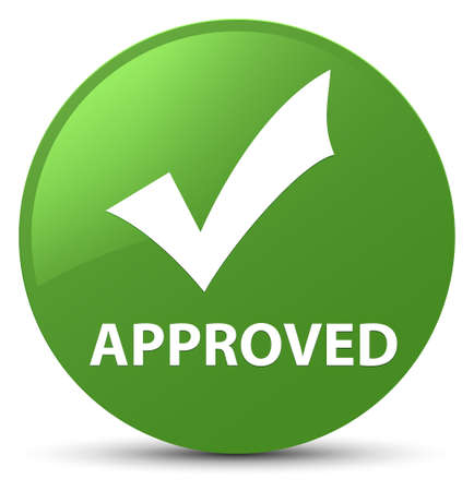 Approved (validate icon) isolated on soft green round button abstract illustration Stock Photo