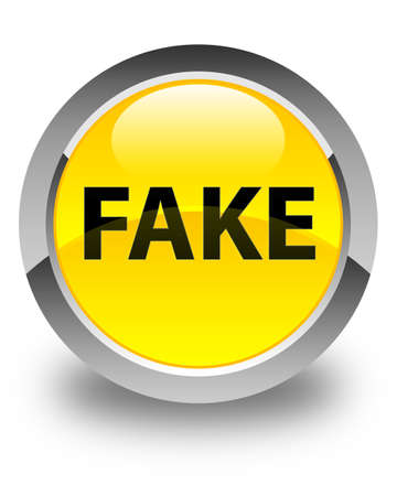 Fake isolated on glossy yellow round button abstract illustration Stock Photo
