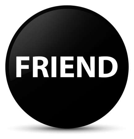 Friend isolated on black round button abstract illustration