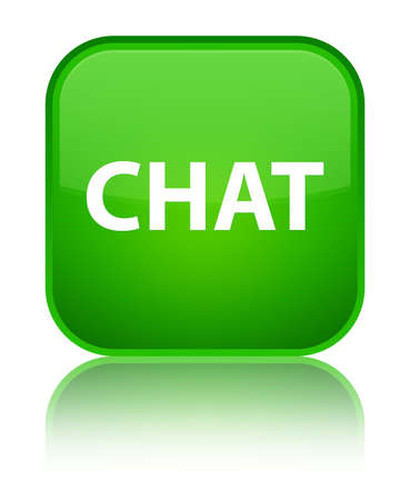 Chat isolated on special green square button reflected abstract illustration