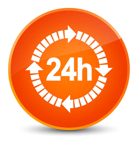 24 hours delivery icon isolated on elegant orange round button abstract illustration