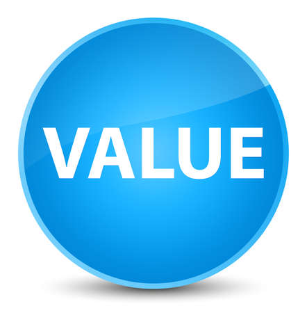 Value isolated on elegant cyan blue round button abstract illustration Stock Photo