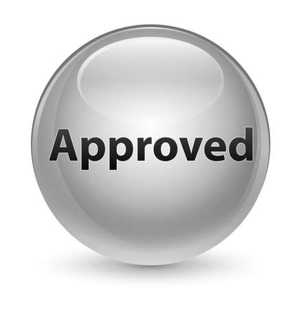 Approved isolated on glassy white round button abstract illustration
