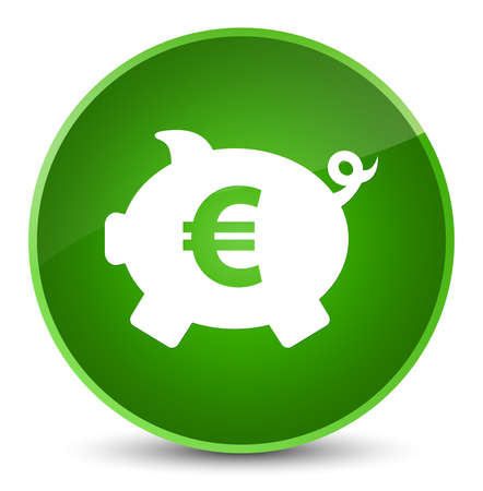 Piggy bank euro sign icon isolated on elegant green round button abstract illustration