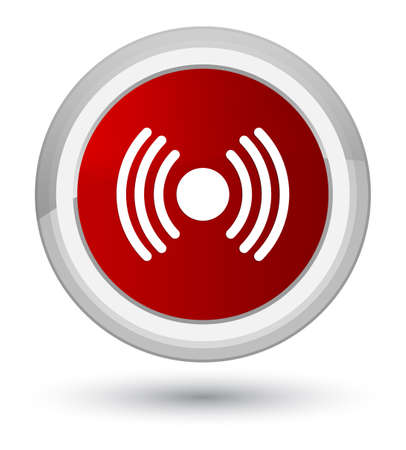 Network signal icon isolated on prime red round button abstract illustration
