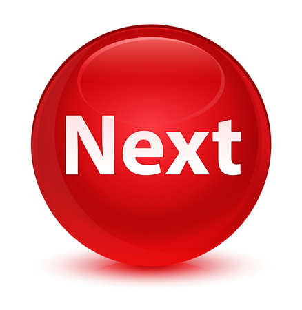 Next isolated on glassy red round button abstract illustration
