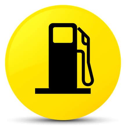 黄色の丸いボタンの抽象的なイラストに分離燃料ディスペンサーアイコン 写真素材