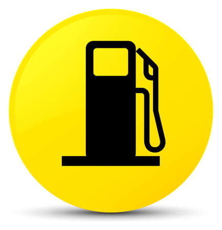 Fuel dispenser icon isolated on yellow round button abstract illustration Stock Photo