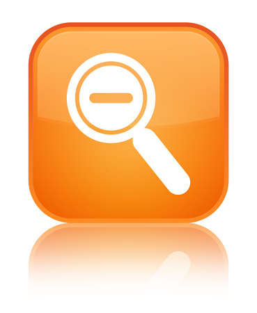 Zoom out icon isolated on special orange square button reflected abstract illustration
