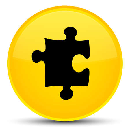 Puzzle icon isolated on special yellow round button abstract illustration