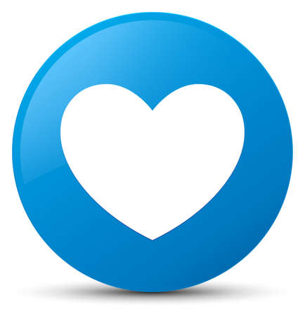 Heart icon isolated on cyan blue round button abstract illustration
