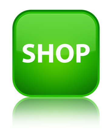 Shop isolated on special green square button reflected abstract illustration Stock Photo