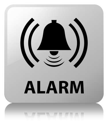 Alarm (bell icon) isolated on white square button reflected abstract illustration Stock Photo