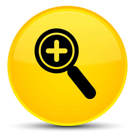 zoom: Zoom in icon isolated on special yellow round button abstract illustration