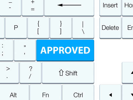 Approved isolated on cyan blue keyboard button abstract illustration Stock Photo