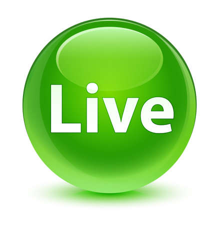 Live isolated on glassy green round button abstract illustration