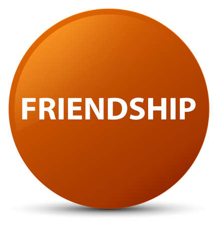 Friendship isolated on brown round button abstract illustration Reklamní fotografie