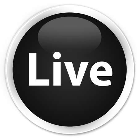 Live isolated on premium black round button abstract illustration