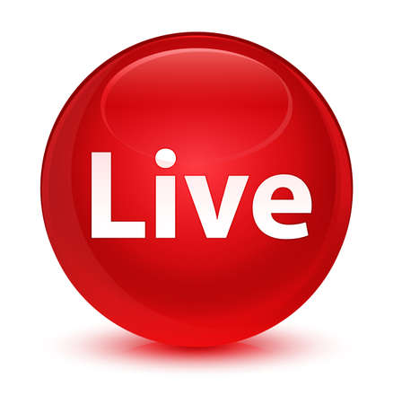 Live isolated on glassy red round button abstract illustration