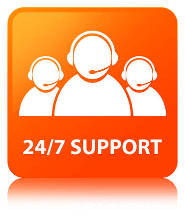 247 Support (customer care team icon) isolated on orange square button reflected abstract illustration Stock Photo