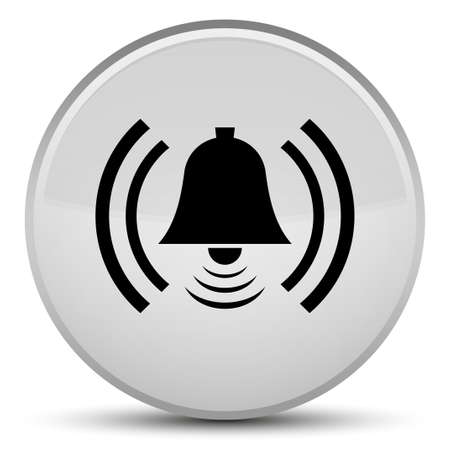 Alarm icon isolated on special white round button abstract illustration