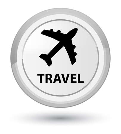 Travel (plane icon) isolated on prime white round button abstract illustration Stock Photo