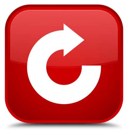 Antworten Sie die Pfeilikone, die auf spezieller roter quadratischer Knopfzusammenfassungsillustration lokalisiert wird Standard-Bild