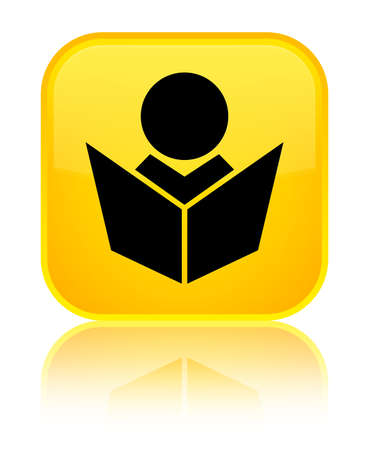 special education: Elearning icon isolated on special yellow square button reflected abstract illustration Stock Photo