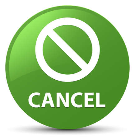 Cancel (prohibition sign icon) isolated on soft green round button abstract illustration