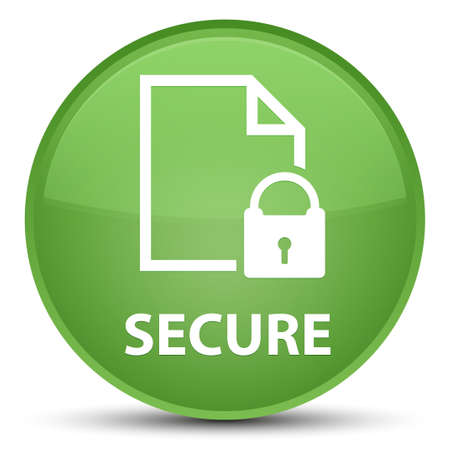 Secure (document page padlock icon) isolated on special soft green round button abstract illustration