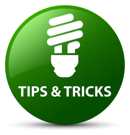 Tips and tricks (bulb icon) isolated on green round button abstract illustration