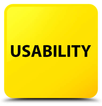 Usability isolated on yellow square button abstract illustration Stock Photo