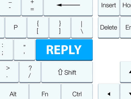 Reply isolated on cyan blue keyboard button abstract illustration Stok Fotoğraf - 89765507