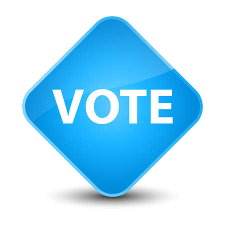 Vote isolated on elegant cyan blue diamond button abstract illustration