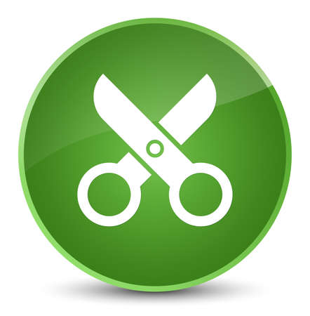 Scissors icon isolated on elegant soft green round button abstract illustration Stock Photo