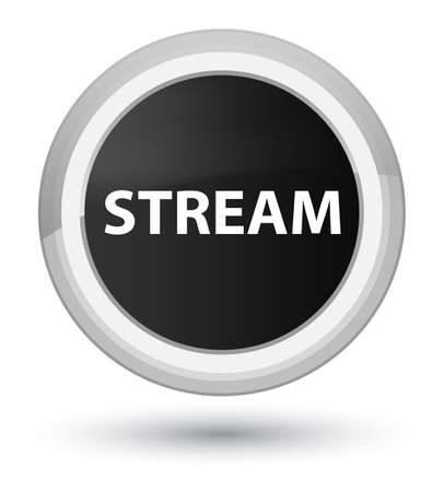 Stream isolated on prime black round button abstract illustration Banco de Imagens