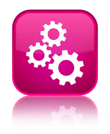 cogwheel: Gears icon isolated on special pink square button reflected abstract illustration Stock Photo