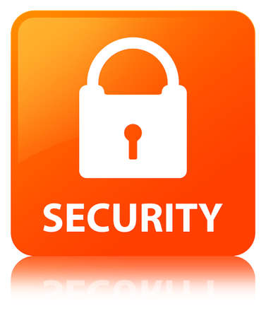 Security (padlock icon) isolated on orange square button reflected abstract illustration